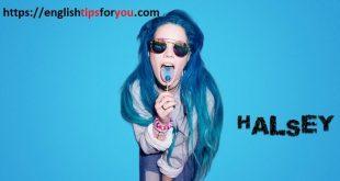 halsey-blue hair- englishtipsforyou.com - آموزش زبان انگلیسی - زبان نکته - هالزی