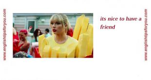 Taylor Swift Its Nice To Have A Friend